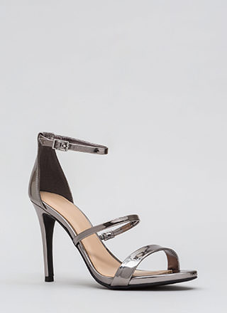 Strappy To See You Metallic Heels