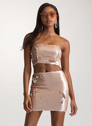 Dream Sequins Strapless Two-Piece Dress