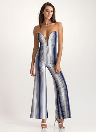 Draw The Line Strapless Palazzo Jumpsuit