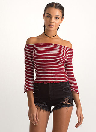 Get In Line Off-Shoulder Bell Sleeve Top