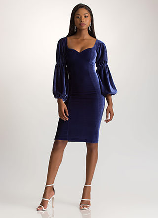 Evening Soiree Velvet Bodycon Midi Dress