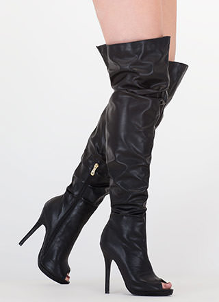 Slouch On Faux Leather Thigh-High Boots