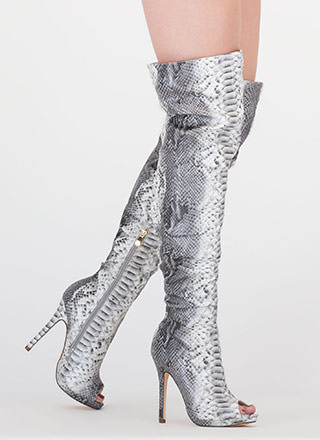 Slouch On Faux Snake Thigh-High Boots