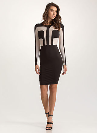 Uptown Two-Tone Mesh Inset Dress