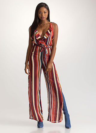 End Of The Line Ruffled Slit Jumpsuit
