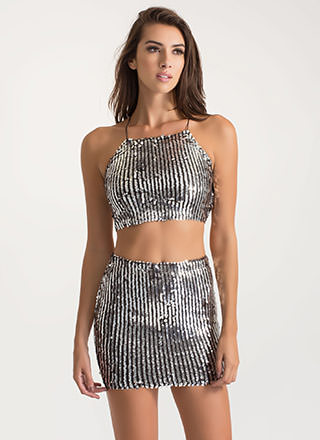 Sequins Of Events Two-Piece Mini Dress