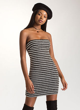 Weave It To Us Striped Strapless Dress