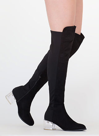 Clear Out Thigh-High Block Heel Boots