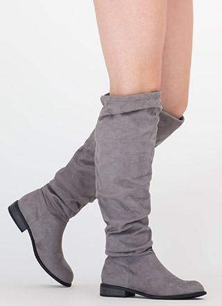 Slouch On Faux Suede Knee-High Boots