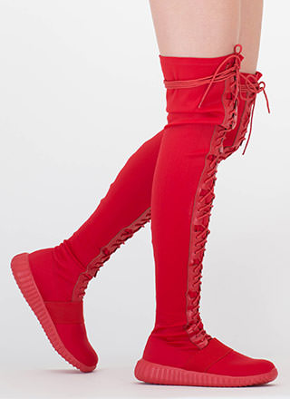 Fashion Week Thigh-High Sneaker Boots