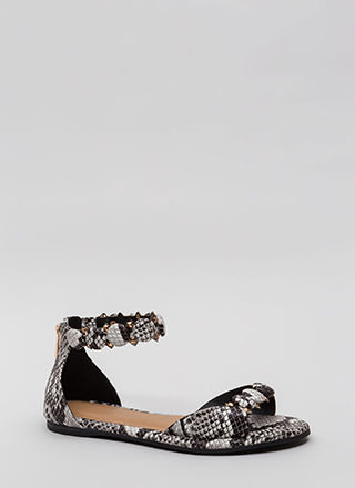Right Buttons Studded Faux Snake Sandals