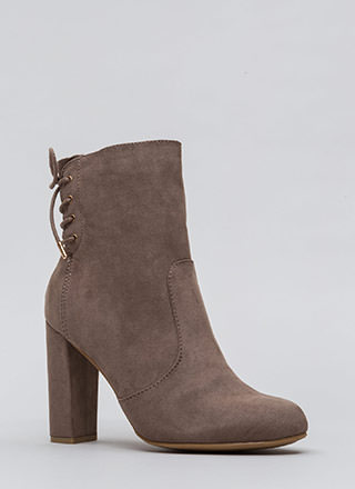Walking Out Chunky Lace-Back Booties
