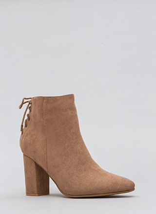 Lace It Back Pointy Faux Suede Booties