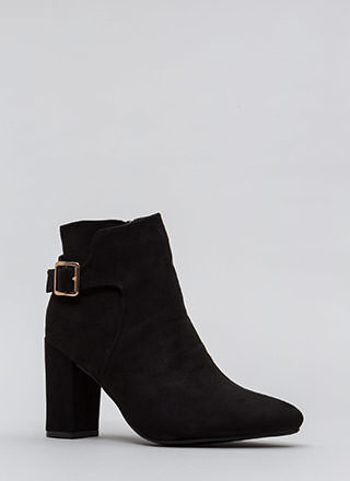 Just One Pointy Faux Suede Booties