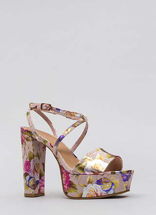 Foiled Again Chunky Floral Platforms