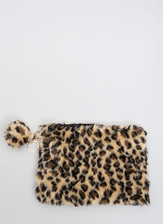Jungle Prowl Faux Leopard Fur Clutch