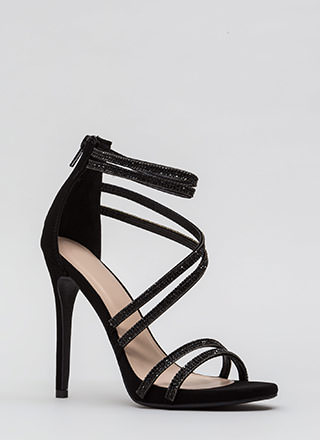 Doubling Up Faux Nubuck Strappy Heels