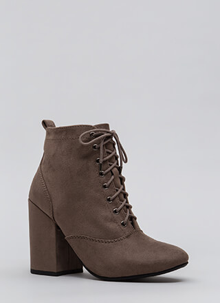 Block The Way Chunky Lace-Up Booties
