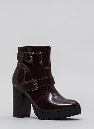 Cool Walkings Faux Patent Lug Booties