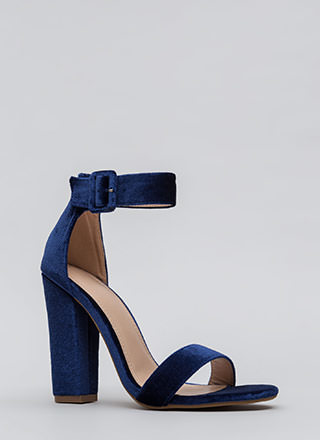 Day And Night Chunky Velvet Heels