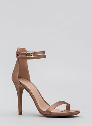 Double Your Pleasure Strappy Satin Heels