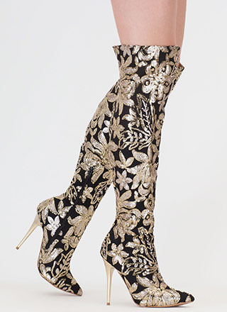 Floral Flourish Sequin Thigh-High Boots