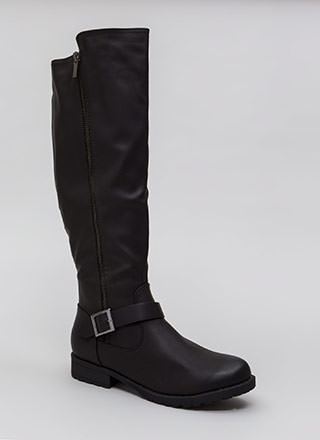 Zipped Into Shape Knee-High Lug Boots