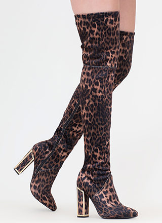 Frame Game Leopard Thigh-High Boots