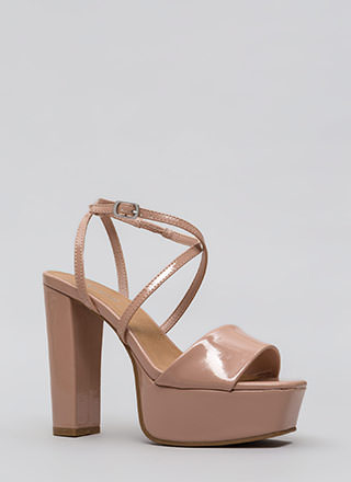 Square Off Chunky Faux Patent Platforms