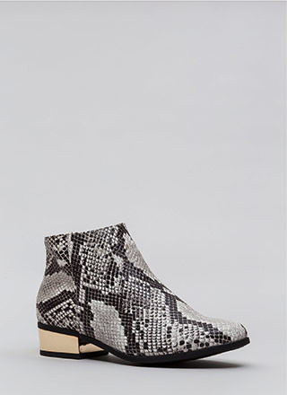 Shine Of The Times Faux Snake Booties