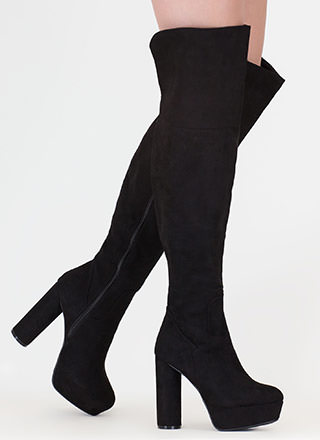 Pipe Dream Faux Suede Thigh-High Boots