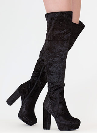 Pipe Dream Velvet Thigh-High Boots