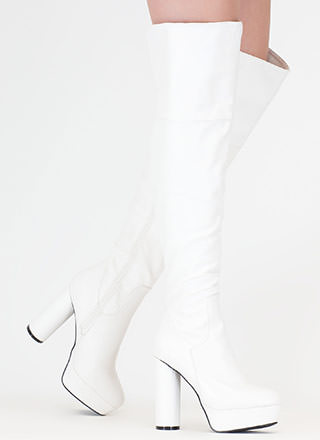 Pipe Dream Faux Leather Thigh-High Boots