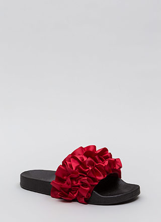 Ruffle Some Feathers Satin Slide Sandals