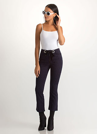 Truth Or Flare Cropped Pinstriped Pants