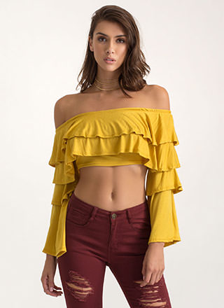 Tier Up Ruffled Off-Shoulder Crop Top