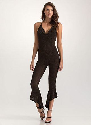 Feeling Sparks Ruffled Halter Jumpsuit