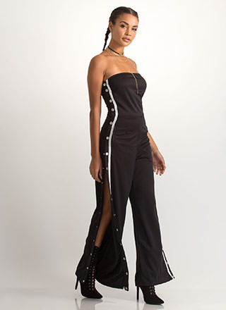 Style Goal Strapless Palazzo Jumpsuit