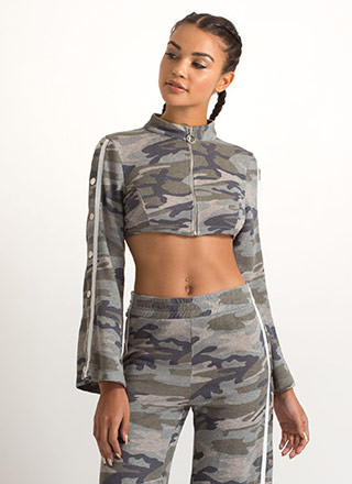 Camo Cool Cropped Bell Sleeve Jacket