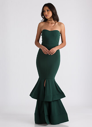 Brought To Tiers Strapless Mermaid Maxi