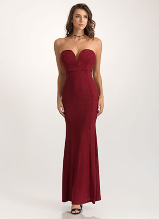 Stroke Of Midnight Shiny Strapless Dress