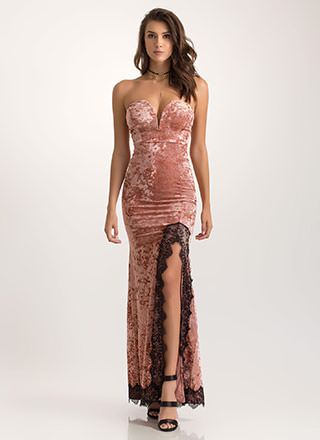 Velvet And Lace Strapless Mermaid Maxi