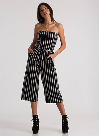 Empire Stripes Back Palazzo Jumpsuit