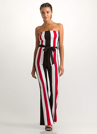 Get In Line Strapless Striped Jumpsuit