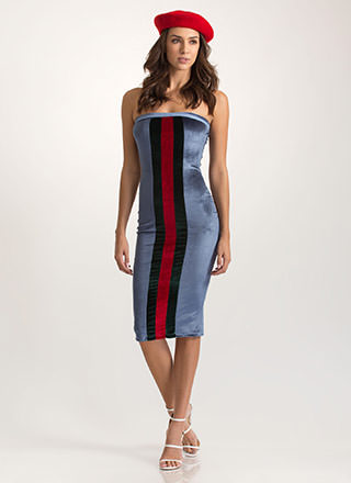 Stripe It Down Velvet Tube Dress