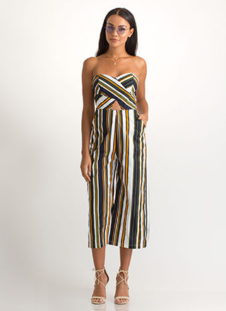 Soho Stripes Strapless Palazzo Jumpsuit