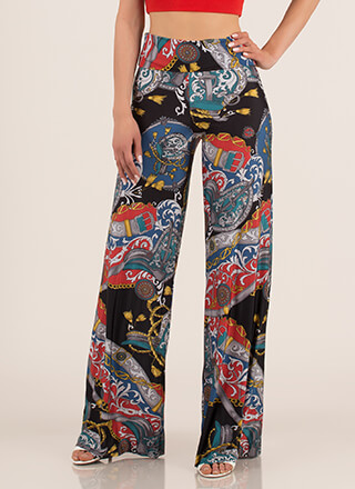 Roped In Swirly Print Palazzo Pants