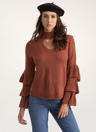 You're Tiering Up Ruffle Sleeve Sweater