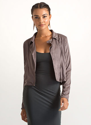 Moto Edge Faux Suede Jacket