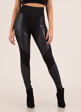 Moto Contrast High-Waisted Leggings